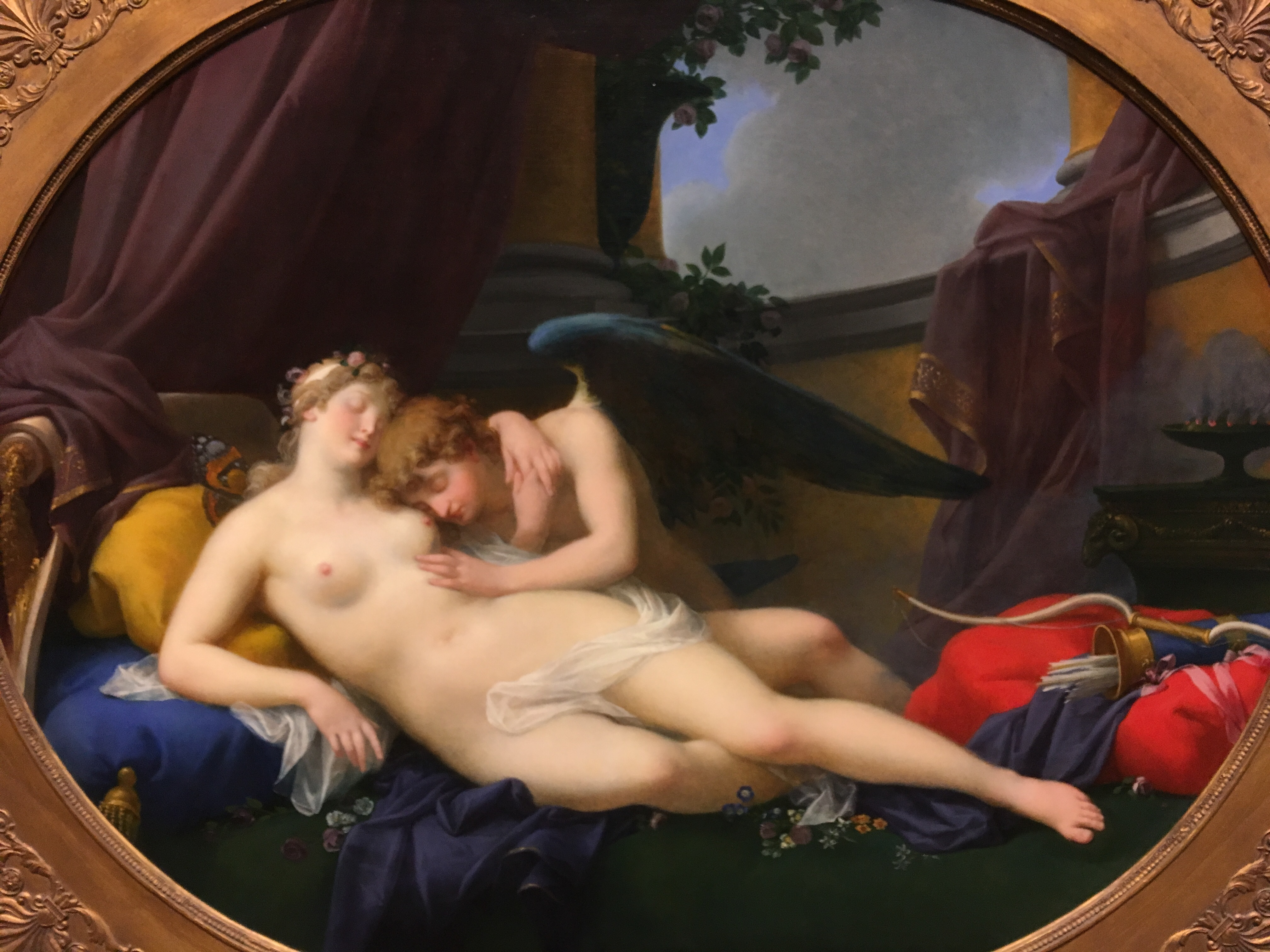 Cupid and Psycke. Note how again how the lighting, the arms, and heads form a circle of focus.  The sky and details of the room support a warmth, a resignation of the feeling the two have toward one another .